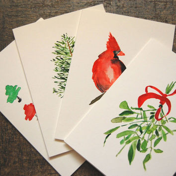 four Christmas cards with classic holiday images, Mistletoe, Red Cardinal, Pine trees, watercolor holiday cards, Christmas art cards