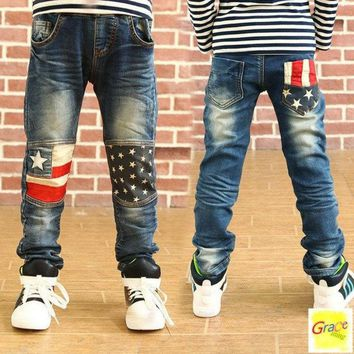 DCCKIX3 Toddler Children new fashion clothes kids baby Patchwork pants Boys Trousers jeans 2-16 Year = 1930285316