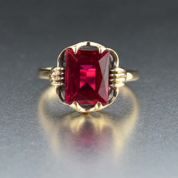 Vintage Art Deco Ruby Ring 10K Gold 3.75 CTW 1930s