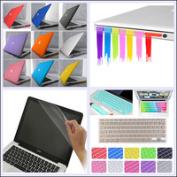 """4 in1 Rubberized Hard Case+Keyboard Cover+LCD Film+Anti-dust Plug for MacBook Air Pro 11"""" 13"""" 15"""""""