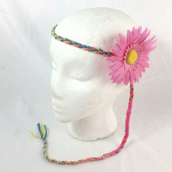 Hippie Colorful Braided Yarn Daisy Flower Headband/Coachella Boho Headband/Music Festival Burning Man Hair Accessory/Groovy Daisy Headband