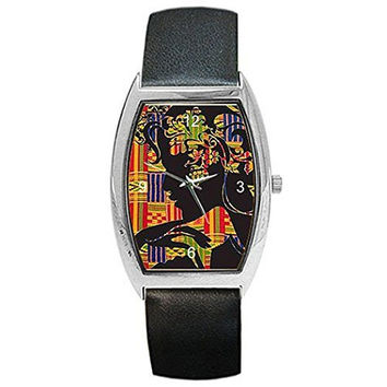 African Fabric and Shadow Women on Womens Barrel Watch with Leather Band