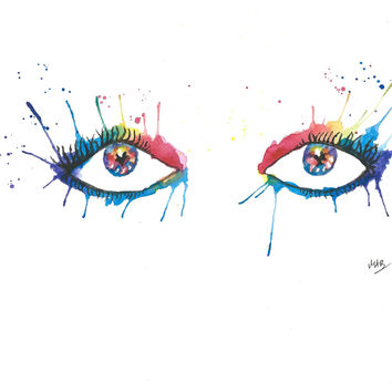 Original Watercolor Abstarct Eyes Painting