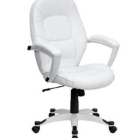 Managerial Chair Padded Seat & Back Contemporary Office Furniture White Leather