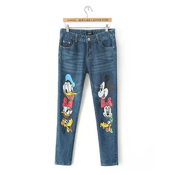 Stylish Rinsed Denim Cartoons Print Casual Pants Jeans [5013158148]