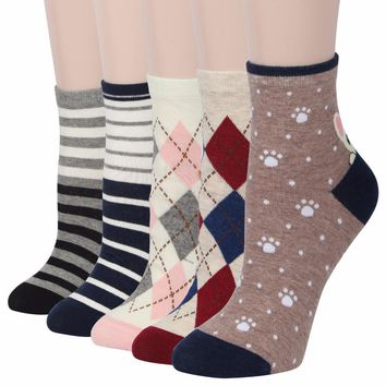 RioRiva 5pairs/Pack Women Colorful Dog Short Mid Calf Crew Funny Cute Socks Ankle Sox Socs Luck Candy Kawaii Poodle Samoyed