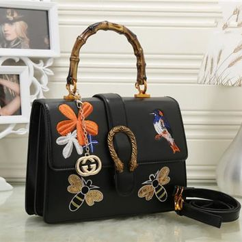 """Gucci"" Women Fashion Personality Embroidery Bee Flower Bird Bamboo Festival Handbag Single Shoulder Messenger Bag"