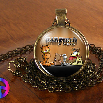 Garfield & Odie (3) Cartoon Handmade Glass Necklace Pendant Jewelry Toy Art Gift