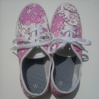 Hand painted Alpha Phi Lilly Pulitzer Inspired Canvas Shoes
