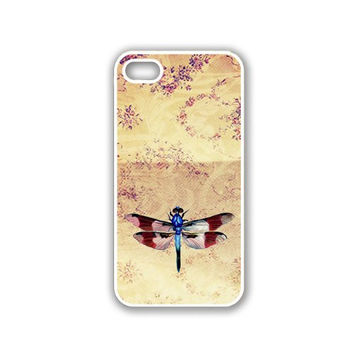 Vintage Dragonfly Retro iPhone 5 White Case - For iPhone 5/5G White Designer Plastic Snap On Case