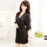Women's Sleepwear ROBE Bathrobes+G-string Thongs  Lingerie Nightdress
