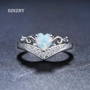 SINZRY JEWELRY Cut Rainbow Opal  Heart Ring Fashion White CZ Wedding Jewelry Cubic zirconia Engagement Rings