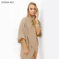 Julissa Mo Autumn Winter Dress Women Vintage Turtleneck Thick Sweater Dress Vestido De Festa Sexy Club Party Dresses