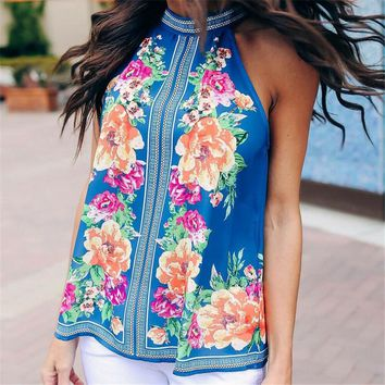 2019 Summer Women Sexy Sleeveless Backless Floral Shirt Blusa Knotted Tank Top Blouse Sexy Vest Tops T shirt Open Back T shirt