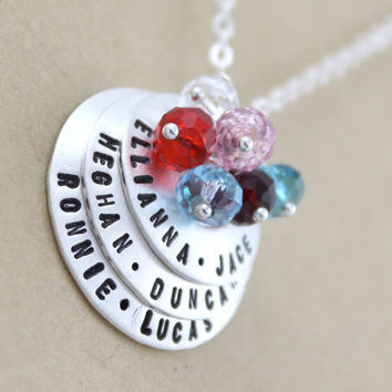 6 names custom necklace Hand stamped name by LustrousElements