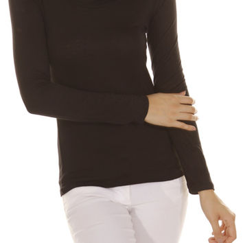Long Sleeve Draped Cowl Neck Top