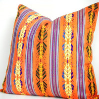 Orange Decorative Pillows, Mexican Pillow, Mexican Cushion, Aztec Pillows, 14x14 inch decorator pillow tribal