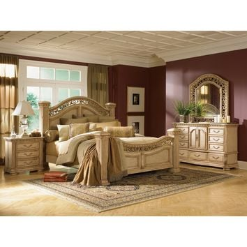 Cordoba Mansion Poster Bed Set - Burnished Pine - Standard Beds at Hayneedle