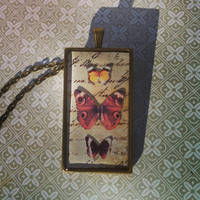 Vintage floating butterfly study with three butterflies resin pendant NECKLACE in ANTIQUE BRASS. Great gift !