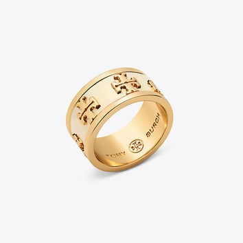 Tory Burch Enameled Raised-logo Ring
