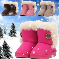Winter Children Boots Thick Warm Lovely Girls Shoes Cotton-Padded Suede Girls Boots Children Boys Snow Boots Kids Shoes