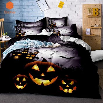 Cool 3DSkull Halloween series pumpkin lantern bedding sets Comfortable Duvet Cover With Pillowcases Queen King Size Bed Covers SJ132AT_93_12