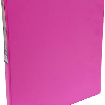 "1"""" Neon Pink Vinyl 3-Ring Binder w/ 2 Pockets Case Pack 24"