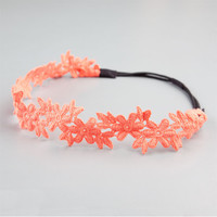Full Tilt Crochet Flower Headband Coral One Size For Women 21795131301