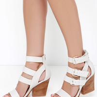 Very Volatile Martel Ice White Leather Caged Heels