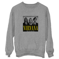 nirvana logo sweater Gray Sweatshirt Crewneck Men or Women for Unisex Size with variant colour