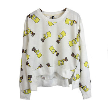 White Simpson Printed Long Sleeves High Low With Slit Top