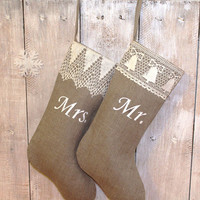 Personalized Handmade Christmas stockings    Mr and Mrs Christmas stocking   Custom stocking Scandinavian Christmas stocking Burlap