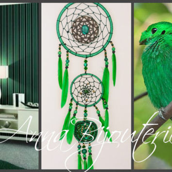 Dreamcatcher green Dream Catcher Large Dreamcatcher New Dream сatcher gift idea dreamcatcher boho dreamcatcher wall handmade gift malachite