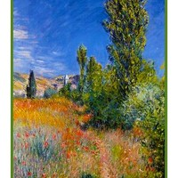 Landscape Ile Saint-Martin Vetheuil inspired by Claude Monet's impressionist painting Counted Cross Stitch or Counted Needlepoint Pattern