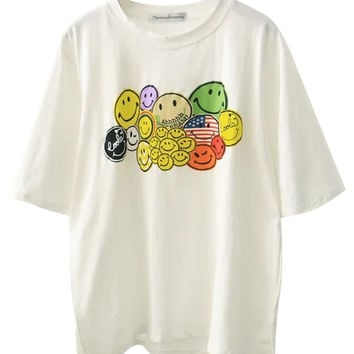 Emoji Printed Loose T-shirt