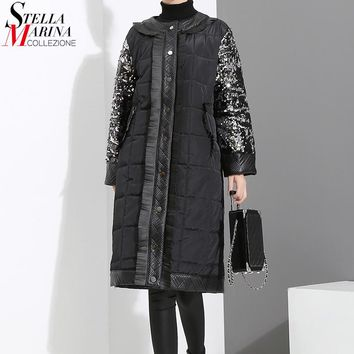 New 2017 Winter Women Oversize Long Black Parka Long Sleeve With Sequins Female Warm Thick Style Jacket Coat manteau femme 3016