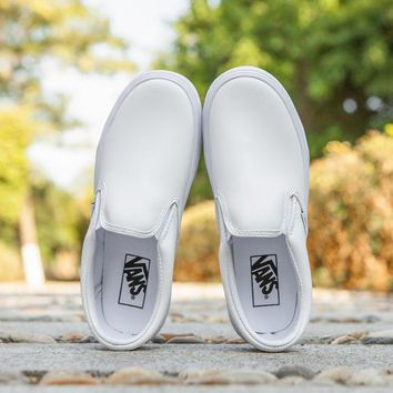 Vans Slip-On Classic Leather Flats Sneakers Sport Shoes