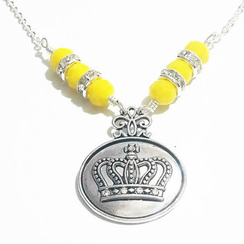 Crown Jewelry / Wire Wrapped Necklace / Crown Jewellery / Crown Charm / 5 Point Crown Necklace / Rhinestone Crown Necklace / Yellow Necklace