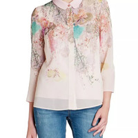 Light Pink Floral Print Sleeve Collared Chiffon Blouse