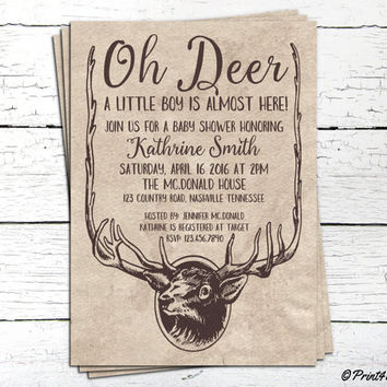 Oh Deer Baby Shower Invite // Decorative Craft Paper Oh Deer Baby Shower Invitation // Baby Shower Invite // Baby Shower