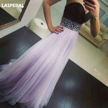 LASPERAL Long Dress Women Sleeveless Off The Shoulder Maxi Dress For Wedding Party V-Neck High Waist Sequined Voilet Maxi Dress