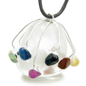 Brazilian Lucky Crystal Charm Large Tumbled Rock Quartz with Multi Gemstones Pendant Necklace