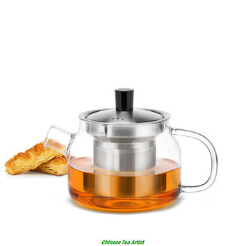 470ml Mutiple Colour Handle Personal Use Modern Heat Resistant Glass Teapot with EU Food Grade Stainless Steel Infuser and Lid