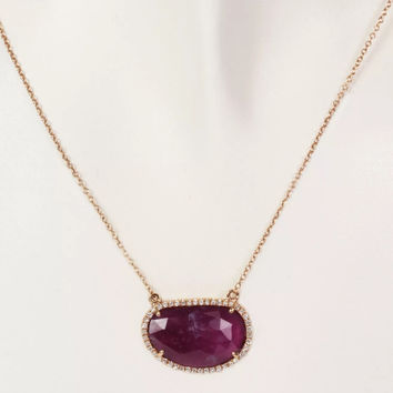 14k Rose Gold, Diamond and Sliced Pink Sapphire Necklace
