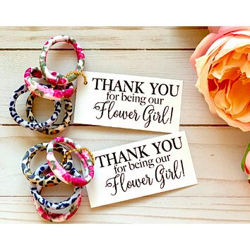 FLOWER GIRL Thank You Gift | Hair Tie Favors | Leopard, Roses | Bridal Party Thank You Gift