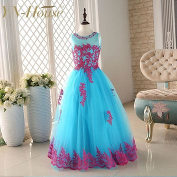 2015 New Arrival Little Girl Ball Gown Scoop Appliqued Glitz Pageant Floor Length Flower Girls Dresses For Children Prom Gown
