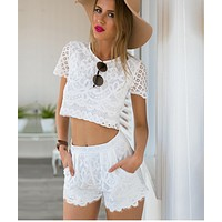 FASHION CUTE TWO PIECE LACE ROMPER PLAYSUIT