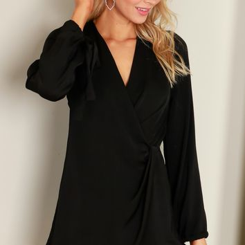 Satin Wrap Romper Charcoal
