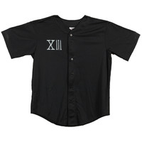 Sworn In Men's  Flower Baseball Jersey Black Rockabilia