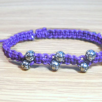 Beaded Macrame Bracelet Purple Macrame Bracelet Friendship Bracelet